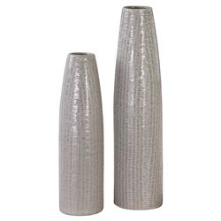Paityn Taupe Textured Bazaar Tall Ceramic Vases - Pair