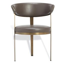Interlude Adele Modern Rounded Grey Upholstered Bronze Dining Arm Chair