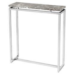 Interlude Harper Regency Silver Grey Marble Console Table - 30W