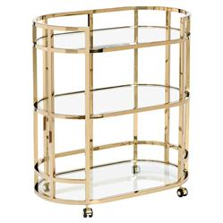 Interlude Hayden Hollywood Regency Brass Oval Glass Bar Cart