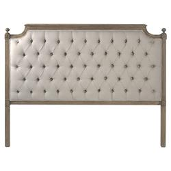 Louis French Country Flax Grey Linen Button Tufted Natural Oak Headboard - Queen