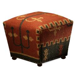 Southwestern Cabin Rustic Lodge Mtn. Ray Cube Kilim Ottoman | Kathy Kuo Home