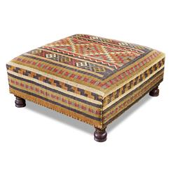 Rae Plains Southwestern Rustic Kilim Square Coffee Table Ottoman | 174802