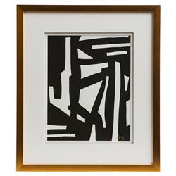 Peyton Modern Classic Black White Gold Frame Wall Art - I
