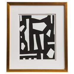 Peyton Modern Classic Black White Gold Frame Wall Art - III