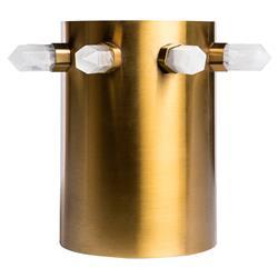 Everest Modern Classic Sleek Brass Quartz Wine Cooler