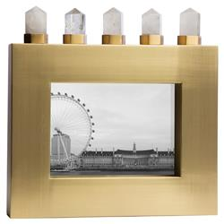 Lance Global Bazaar White Quartz Brass Horizontal Photo Frame