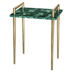 Vivien Hollywood Brass Handle Green Malachite Side End Table
