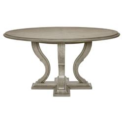 Michaela French Country White Oak Veneer Walnut Round Dining Table