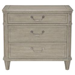 Michaela French Country White Oak 3 Drawer Inlaid Walnut Nightstand