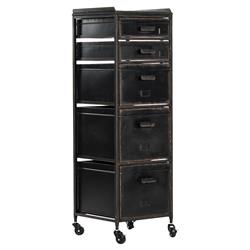 Kiel Industrial Loft Black Metal Vintage 5-Drawer Wheeled Cabinet
