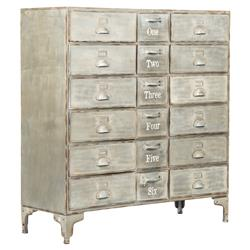 Rhine Industrial Loft Grey Wash 18-Drawer Numbered Metal Cabinet