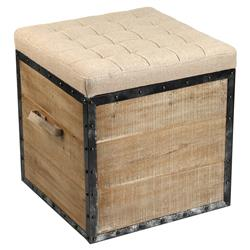 Tirley French Country Teak Wood Metal Trim Burlap Storage Stool