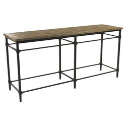 Amandine French Country Teak Wood Metal Framework Console Table