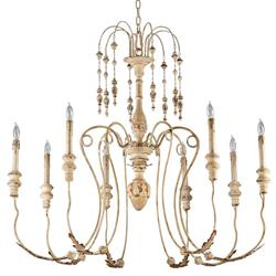 Maison French Country Antique White 8 Light Chandelier