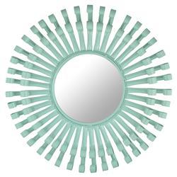 Garon Modern Mint Green Lacquer Swirl Round Mirror