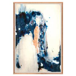 Ceramic Glaze Indigo Drop Copper Leaf Painting - Walnut Frame