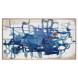 Lee Abstract Blue Compositional Painting - Walnut Frame