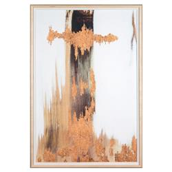 No. 3 Texture Copper Leaf Abstract Painting - Maple Frame