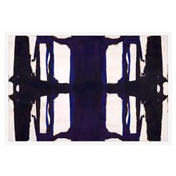 Blue Inkblot Minimal Mirror Copper Painting - White Lacquer Frame