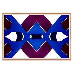 Belem Blue Geometric Purple Inkblot Painting - Walnut Frame