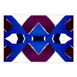 Belem Blue Geometric Purple Inkblot Painting - White Frame