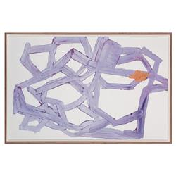 Violet Abstract Burnished Copper Painting - Walnut Frame