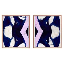 Navy Blue Purple Abstract Diptych - Walnut Frame