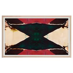 Green Abstract Red Inkblot Triangle Painting - Maple Frame
