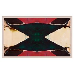 Green Abstract Red Inkblot Triangle Painting - Acrylic Frame