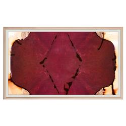 Red Burgundy Unia Inkblot Copper Painting - Maple Frame
