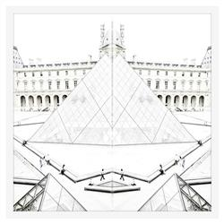Double Louvre Mirror Photograph - White Lacquer Frame