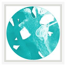 Sea Glass Blue Abstract Teal Painting - White Lacquer Frame