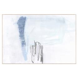 Dosha Sea Blue Abstract Gesso Silver Painting - Maple Frame