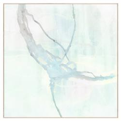 Modern Abstract Sea Foam Blue Sapphire Painting - Maple Frame
