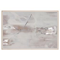 Hazy Modern Abstract Mauve Grey Silver Painting - Maple Frame
