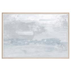 Slate Blue Cloudy Grey Abstract Painting - Maple Frame
