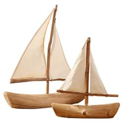 Coastal Beach Driftwood Beige Model Sailboats - Set of 2