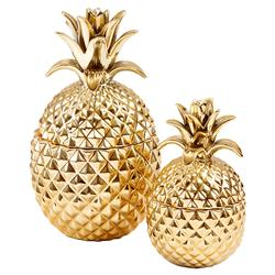 Hollywood Regency Gold Pineapple Decorative Jars - Set of 2