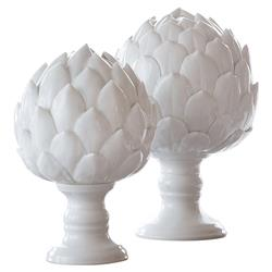 Modern Classic White Ceramic Artichoke Sculptures - Set of 2