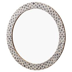 Mandie Global Bazaar Bone Grey Inlay Quatrefoil Round Wall Mirror - 27D