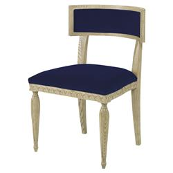 Mr. Brown Delphi Coastal Grey Ash Lapis Blue Velvet Side Chair