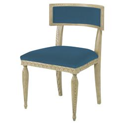 Mr. Brown Delphi Coastal Grey Ash Blue Velvet Side Chair