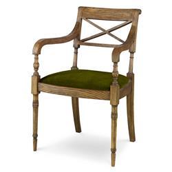 Mr. Brown Armathwaite French Rustic Oak Side Chair - Midori Green Velvet