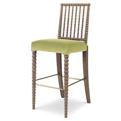 Mr. Brown Beatrix Modern Oak Bead Yellow Velvet Barstool