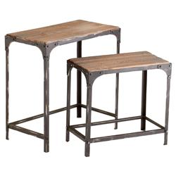 Cial Rustic Industrial Iron Wood Nesting Tables - Pair