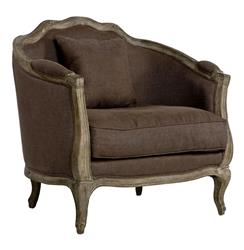 Rue Du Bac Barrel Back Brown Linen Arm Chair