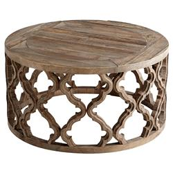 Hiru Global Rustic Wood Medallion Round Coffee Table