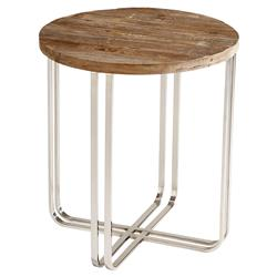 Trose Rustic Industrial Wood Silver End Table