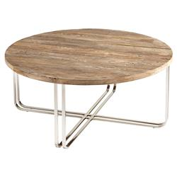 Trose Rustic Industrial Wood Silver Round Coffee Table